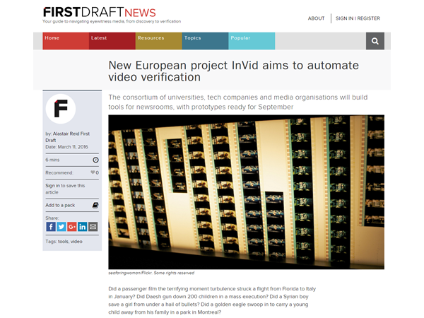 InVID at First Draft News