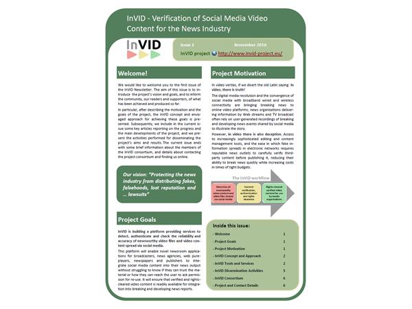 InVID Newsletter, First Issue, , November 2016
