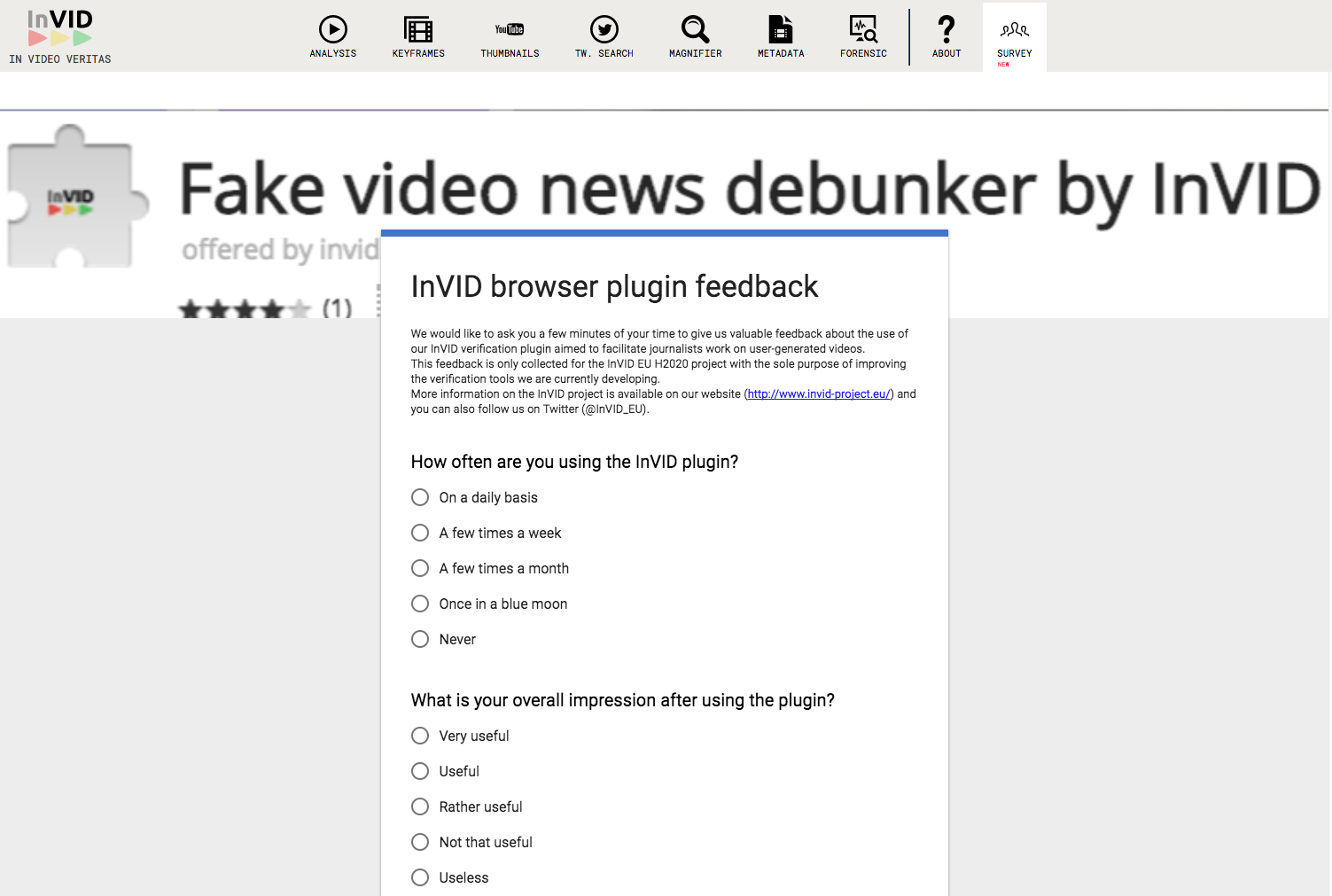 The integrated survey about the use of the InVID Verification Plugin