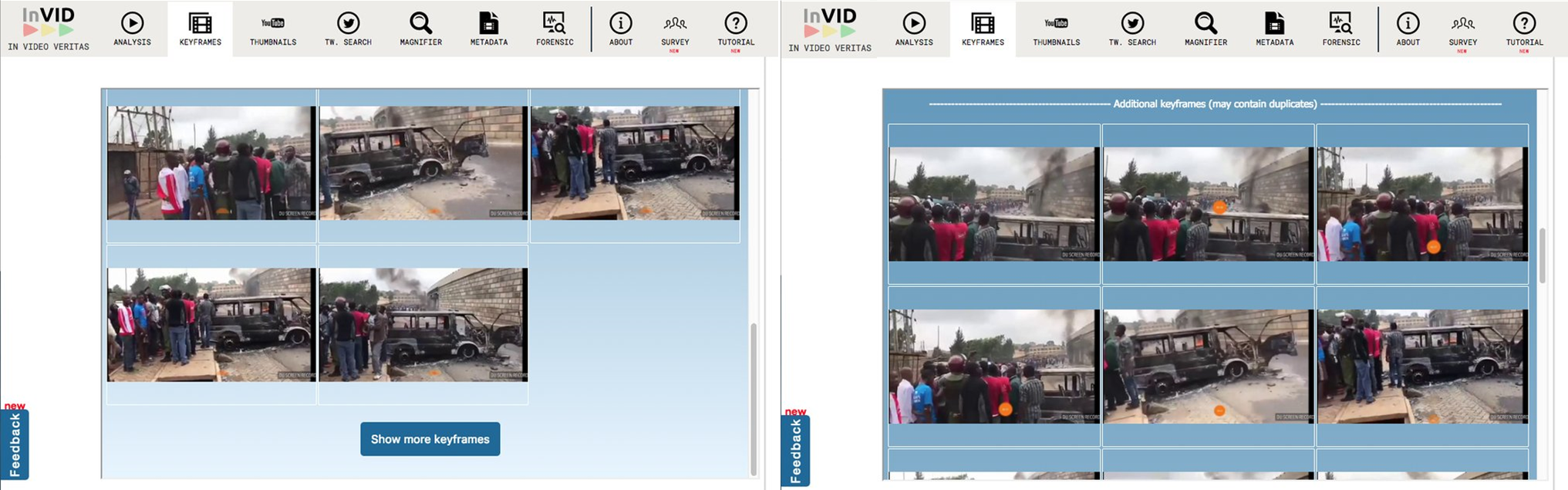 The video keyframe extraction tool offers additional keyframes for reverse image search (right image) after a user request via a simple button at the end of the initial collection of keyframes (left image)