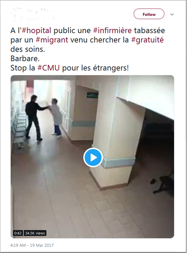 Fake tweet about a migrant being violent in a France hospital