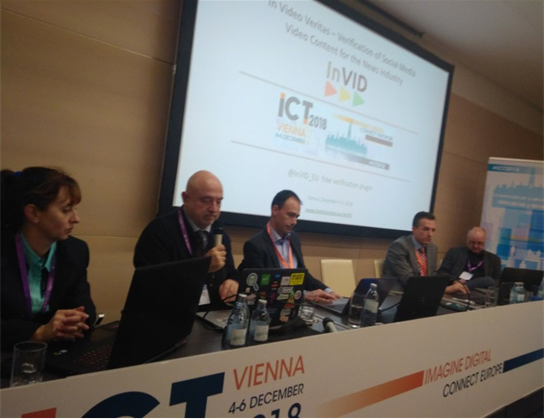 Panel of the InVID networking session at ICT 2018 (Photo by Symeon Papadopoulos)